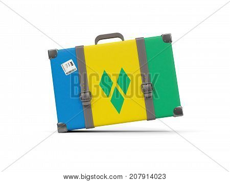 Luggage With Flag Of Saint Vincent And The Grenadines. Suitcase Isolated On White