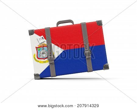 Luggage With Flag Of Sint Maarten. Suitcase Isolated On White