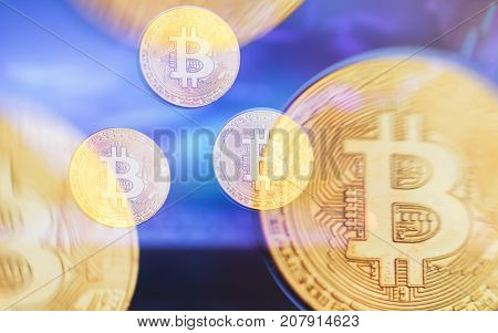 Decentralized finance banking with bitcoin cryptocurrency, on line payment blockchain distribution concept.