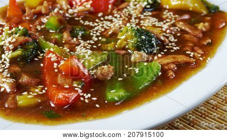 Sweet and Sour Pork Guangdong Cuisine close up