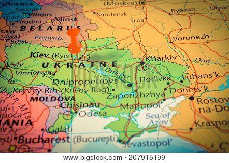 Vinnitsa, Ukraine - August 25 , 2017: Map Of Ukraine With Pushpin