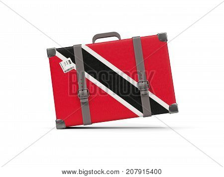 Luggage With Flag Of Trinidad And Tobago. Suitcase Isolated On White