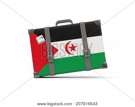 Luggage With Flag Of Western Sahara. Suitcase Isolated On White
