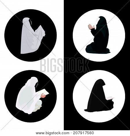 Female muslim praying and reading quran icons
