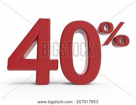 3D Rendering Of A 40% Symbol