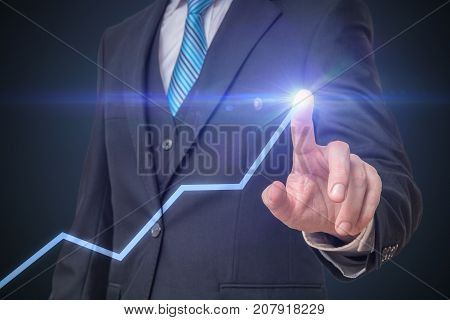 Success And Growth In Business Concept. Businessman Is Drawing I