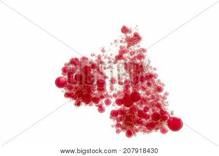 A cloud of many small red bubbles