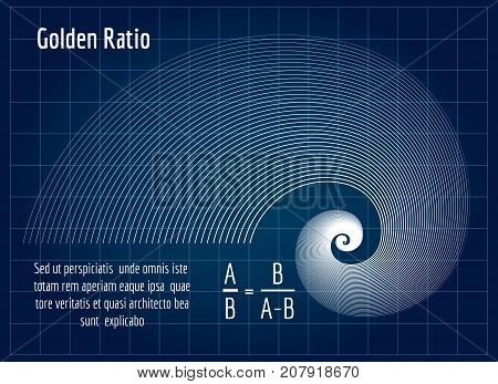 Fractal lines golden spiral mean ratio proportion section on blue background, vector illustration