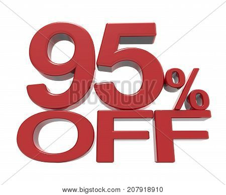 3D Rendering Of A 95% Off Symbol