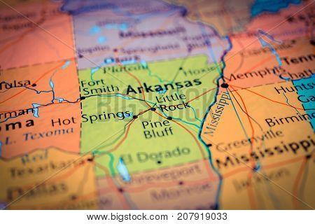 Vinnitsa Ukraine - August 25 2017: Arkansas map