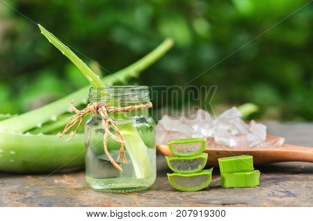 sliced and leaf of fresh aloe vera with essential oil in glass and gel product on spoon