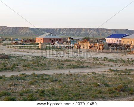 Steppe settlement. Kazakhstan. Mangistau region. In the Shetpe area.