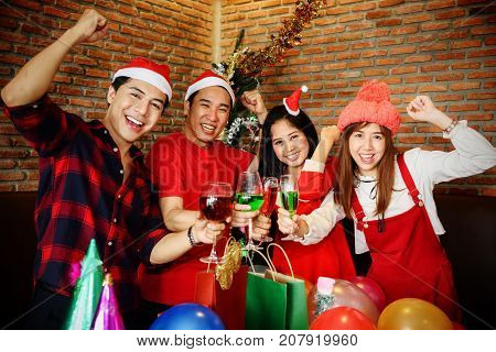 Young Asian Group Celebrate Christmas Party