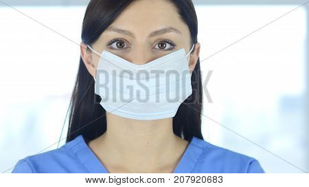 Close Up Of Reseach Scientist, Doctor In Mask