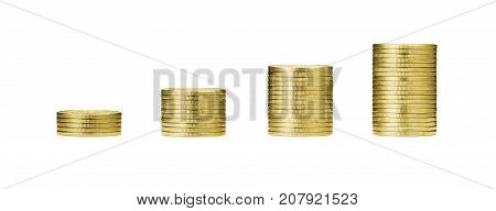 pile of gold coins stack and growing money graph on rows of 5 10 15 20 golden coin isolated on white background with clip path. Income profits finance Investment Interest and Saving money concept.