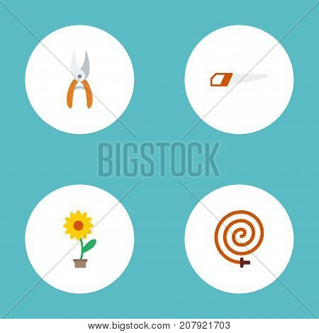 Flat Icons Pruner, Hacksaw, Flowerpot And Other Vector Elements