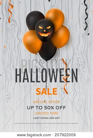 Halloween sale flyer with balloons. Vector illustration with orange confetti and serpentine. Special seasonal offer banner. Festive composition on wooden texture.