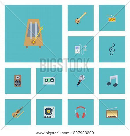 Flat Icons Tape, Turntable, Mp3 Player And Other Vector Elements