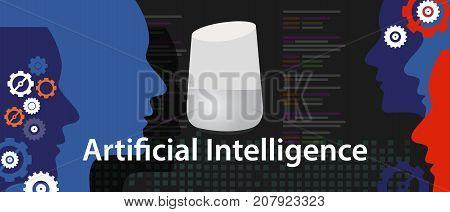AI artificial intelligence smart home digital assistant speaker technology device internet of things smart speaker vector