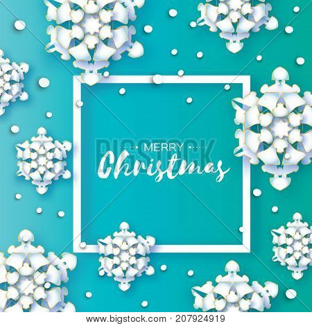 White Origami Snowfall. Merry Christmas Greetings card. White Paper cut snow flake. Happy New Year. Winter snowflakes. Square frame. Space for text. Holidays. Blue background. Vector illustration.
