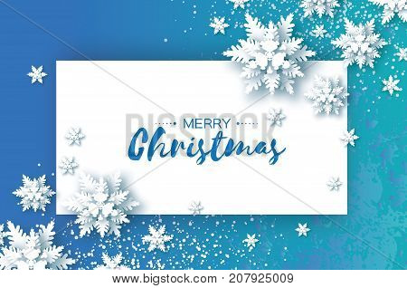 White Origami Snowfall. Merry Christmas Greetings card. White Paper cut snow flake. Happy New Year. Winter snowflakes. Rectangle frame. Space for text. Holidays. Blue background. Vector illustration.