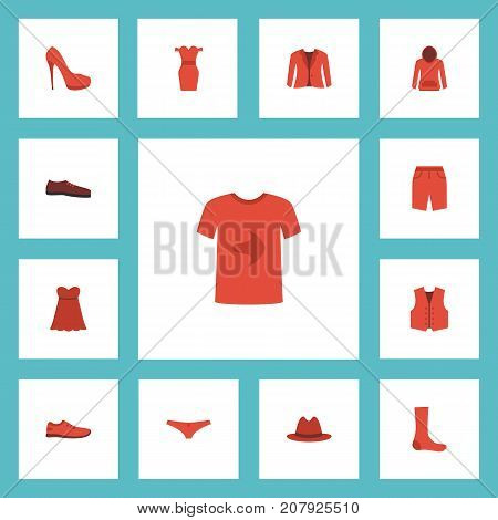 Flat Icons Casual, Evening Dress, Fedora And Other Vector Elements