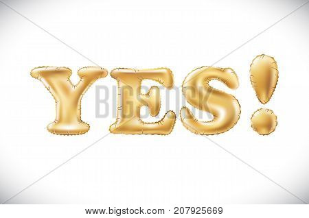 Vector Gold Alphabet Balloons, Acronym And Abbreviation, Yes, Golden Letter Balloon