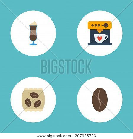 Flat Icons Arabica Bean, Mocha, Coffeemaker And Other Vector Elements