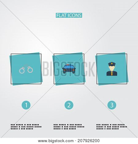 Flat Icons Manacles, Police Car, Policeman And Other Vector Elements
