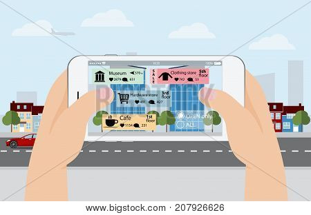 Augmented reality in marketing. Phone in hand, on screen information guide about shopping and entertainment spaces in real time. Vector illustration poster