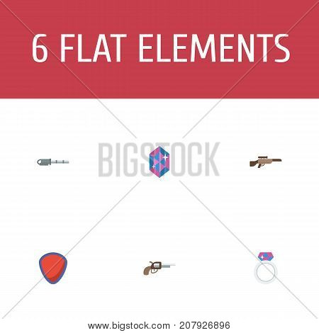 Flat Icons Revolver, Protection, Gem And Other Vector Elements