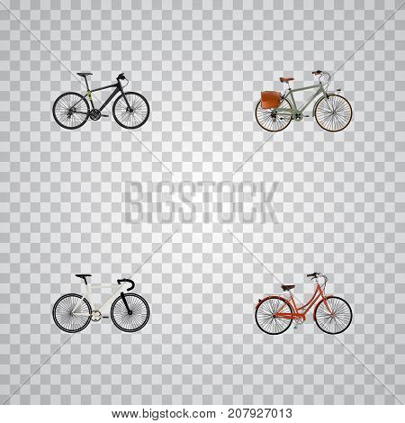 Realistic Road Velocity, Hybrid Velocipede, Retro And Other Vector Elements