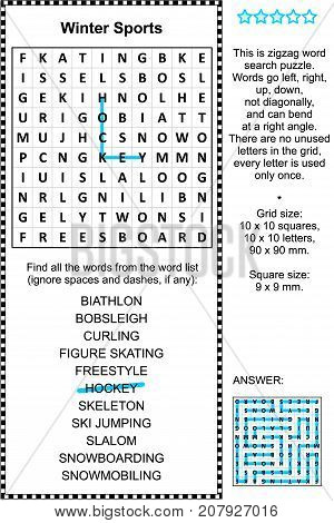 Winter sports themed zigzag word search puzzle (suitable both for kids and adults). Answer included.