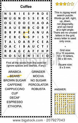 Coffee themed zigzag word search puzzle (suitable both for kids and adults). Answer included.