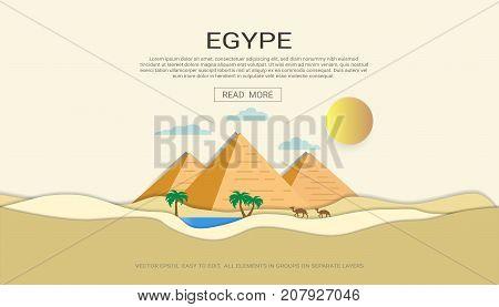 Egypt pyramid desert banner horizontal concept, Egypt landmarks skyline, Cityscape, Travel and tourist attraction.