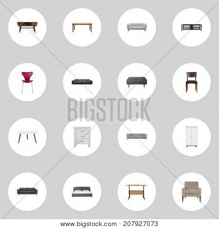 Realistic Mattress, Commode, Settee And Other Vector Elements