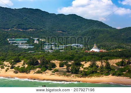 Nanshan Buddhist Cultural Park Sanya, Hainan Island, China. The coastline of Nanshan Buddhist Cultural Park