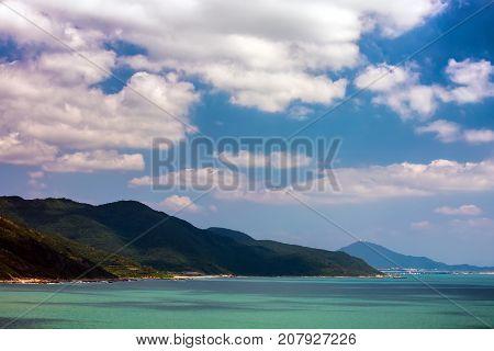 Nanshan Buddhist Cultural Park, Sanya, Hainan Island, China. The coastline of Nanshan Buddhist Cultural Park.