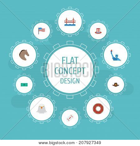 Flat Icons America, Doughnut, Greenback And Other Vector Elements