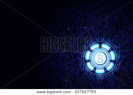 Cyber code background. Virtual currency lighting sign