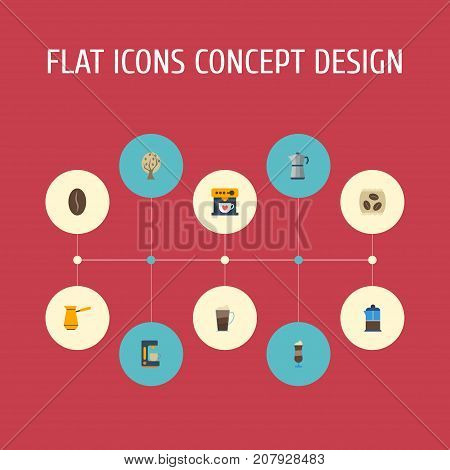 Flat Icons Package Latte, Timber, Espresso Dispenser And Other Vector Elements
