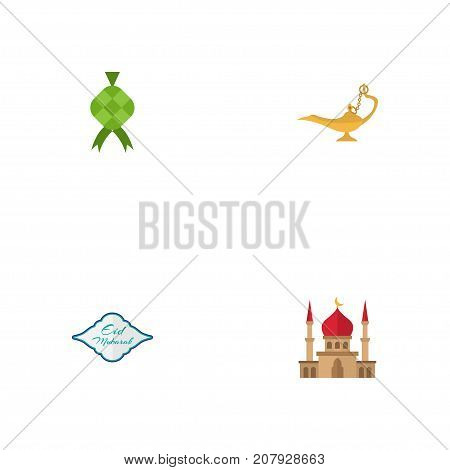 Flat Icons Genie, Malay, Arabic Calligraphy And Other Vector Elements