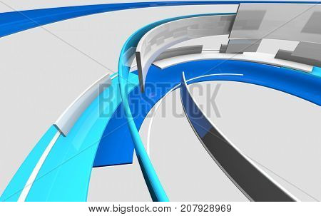 3D glossy reflective white and blue curved shapes. Ambient architecture, technology, science and engineering concept. Realistic shadows and reflections. 3D rendering.