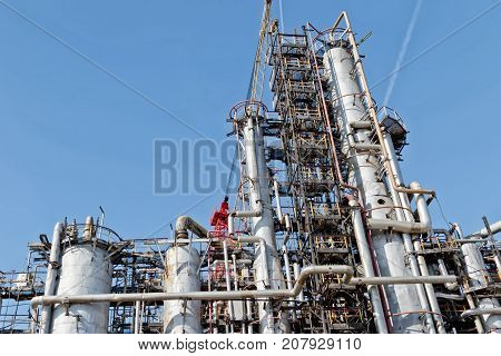 View Of The Old Columns And Chemical Apparatus Plant For Oil Refining At Refinery