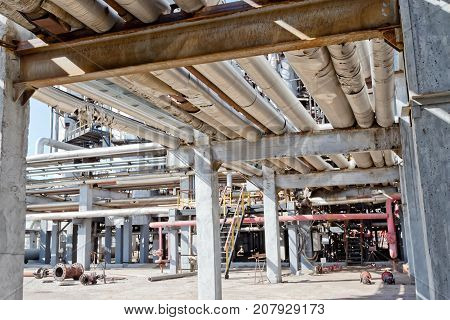 Old Pipelines In The Aluminium Insulation Lie On A Special Rack