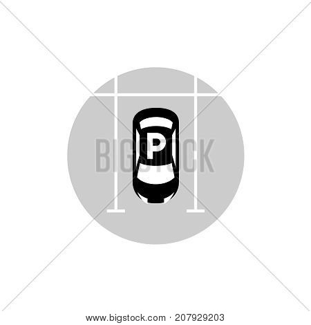 Car parking lot vector icon. Top view car silhouette with white parking lines and letter F above.
