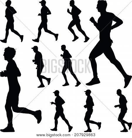 group of ten runners silhouette. run vector