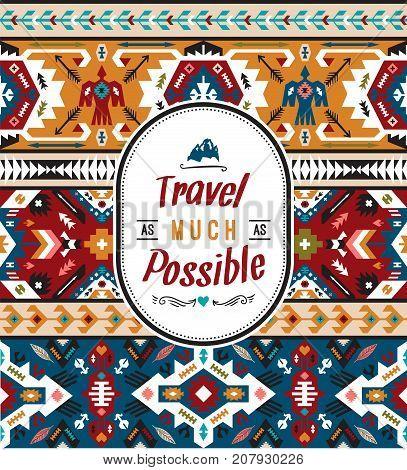 American indian ornate pattern design. Tribal navajo seamless pattern. Aztec abstract geometric art print.