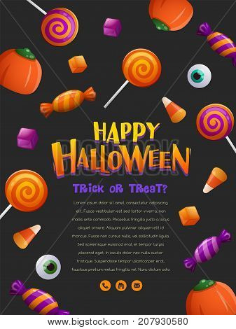 Happy Halloween Party Poster. Halloween poster with candy pattern.