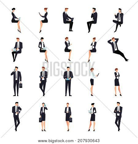 Set of businessmen in a flat style isolated on a white background. Businessmen and business ladies talk on smartphones and use laptops and tablet pc. Vector illustration.